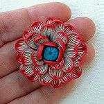 Red/Turquoise Flower Pendant by ZudaGay