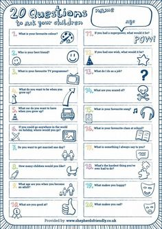 Twenty Questions to ask your children - a fun activity to do with your kids Twenty Questions, Fun Questions To Ask, About Me Questions, What If Questions, 20 Questions Game, Questions To Get To Know Someone, Getting To Know Someone, Learning Activities, Kids Learning