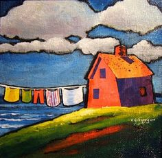 clothesline painting  ~ ~ ~  MM sez: I just love this kind of 'naive' art............it is bright and cheery and very evocative.