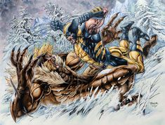 Wolverine X Sabertooth by Alesampa on DeviantArt Marvel Comic Character, Comic Book Characters, Marvel Characters, Comic Books Art, Comic Art, Dc Comics Vs Marvel, Marvel Art, Marvel Heroes, Avengers