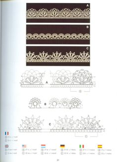 """Photo from album """"Creations Crochet D'or"""" on Yandex. Crochet Border Patterns, Crochet Boarders, Crochet Lace Edging, Crochet Motifs, Crochet Buttons, Crochet Art, Crochet Diagram, Love Crochet, Learn To Crochet"""