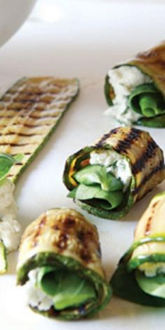 Grilled Zucchini Roll-Ups With Herbs and Cheese  - Eating a healthy diet doesn't mean the end of taste—just check out this collection of delicious low-cholesterol recipes. You'll forget you're eating for your health!