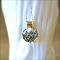 Shake Pyrite Gold Necklace by illuminancejewelry on Etsy, $58.00