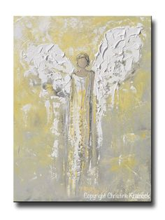 ORIGINAL Angel Painting Gold Grey Abstract Guardian Angel Textured Inspirational Home Wall Art