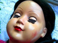 Zelluloid*Schildkröt Puppe 350 / 49 schwarzes Echthaar * Schlafaugen   eBay