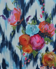 floral on navy blue ikat. www.kristygammill.com