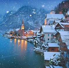 A vision of winter wonderland in Hallstatt, Austria. Imagine snuggling up to a fire with this view! Photo byy: via Winter Szenen, Winter Magic, Winter Time, Beautiful World, Beautiful Places, Wonderful Places, Snow Scenes, Winter Pictures, Oh The Places You'll Go