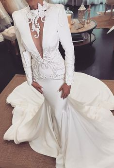 "If the words ""gorgeous long sleeve wedding dress"" set your heart racing, you're in for a treat. Find your perfect long-sleeve wedding dress! Lace Wedding Dress With Sleeves, V Neck Wedding Dress, Long Sleeve Wedding, Long Wedding Dresses, Princess Wedding Dresses, Bridal Dresses, Wedding Gowns, Lace Dress, Dresses Dresses"