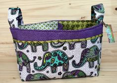 Made with Moxie: Divided Baby Basket| Purple and green funky elephant print fabric.