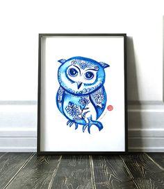 Owl illustration Owl print Indigo Pattern art Blue white Chinoiserie print Asian art Owl art Bird poster Watercolor Buy 2 get 1 free by colorZen on Etsy https://www.etsy.com/listing/269080820/owl-illustration-owl-print-indigo