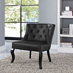 Royal Vinyl Armchair in Black