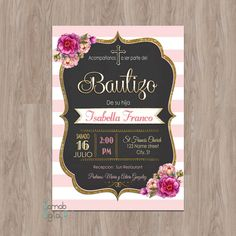 Welcome to my shop! -- This listing is for a personalized image of the Pink/Black stripe & Gold Glitter Baptism invitation (this is a digital file, no materials will be shipped). You can print as many as you need. FOR OTHER BAPTISM DESIGNS Baptism Invitations Girl, 60th Birthday Invitations, Retirement Party Invitations, First Communion Invitations, Tea Party Invitations, Retirement Parties, 50th Birthday, Baby Shower Invitations, Birthday Ideas