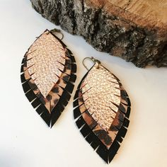 Quality, hand-made leather earrings. #etsy #leather #leatherearrings