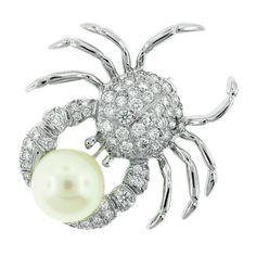 Tiffany & Co. Pearl and Diamond Crab Pin Gems Jewelry, High Jewelry, Pearl Jewelry, Jewelry Box, Pearl Diamond, Uncut Diamond, Diamond Pendant, Diamond Rings, Jewelry Branding