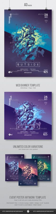 Outside Progressive Party Flyer / Poster Artwork Template A3 — Photoshop PSD #progresive #scifi • Available here ➝ https://graphicriver.net/item/outside-progressive-party-flyer-poster-artwork-template-a3/20606204?ref=pxcr