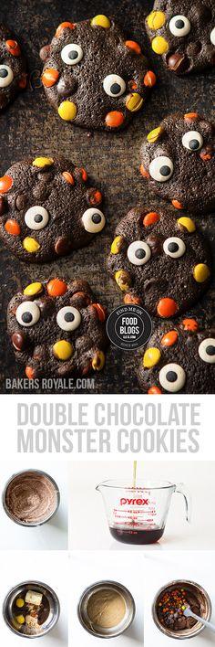 Halloween Double Chocolate Monster Cookies #FindMeOnFoodBlogs #Dessert