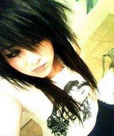 Amazing black emo hair.  So cute.