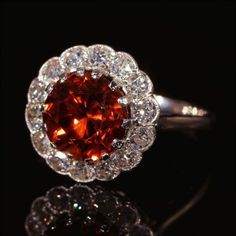 Spectacular Vintage Natural Red Zircon and Diamond Cluster Ring