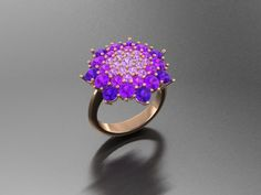 A blossom of amethist and tourmaline gemstones set in pink gold... Truly special cocktail ring from Luxedogems.com