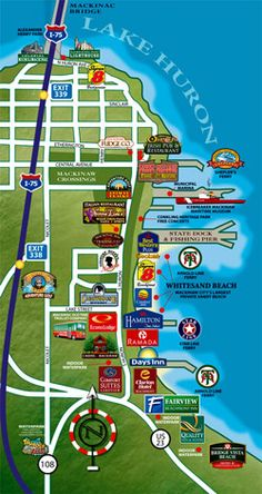 #puremichigan  map of Mackinaw City--Michigan. Cool because it shows where the hotels are, ferry comes in etc.