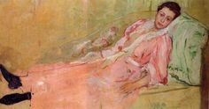 Lydia Reading on a Divan (1880-1881). Mary Cassatt (American, 1844-1926). Oil on canvas. Sister Lydia came to Paris in 1877. Mary valued their companionship, as neither she nor Lydia had married. Mary...