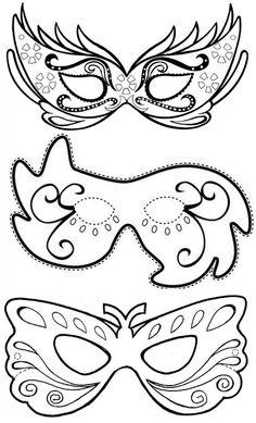 Máscara de Carnaval - Moldes para fazer, colorir e imprimir - Vorlagen,einfach für alles - Mardi Gras Mask Template, Masquerade Mask Template, Masquerade Party, Mardi Gras Masks, Masquerade Masks, Colouring Pages, Coloring Books, Theme Carnaval, Diy For Kids