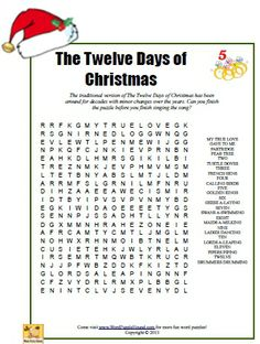 The Twelve Days of Christmas Word Search Puzzle - printable Christmas puzzle