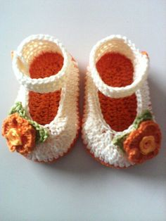 Crochet baby girl Mary Jane shoes. Only found picture. Good for inspiration.