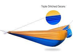 #1 Best Ultralight Camping Hammock - For Travel, Backpacking, Hiking, and Beach - Parachute Fabric - Portable Only 13oz - Single Person Hammocks - by The Rocky Peak (Blue/Gold) - check it out at... http://backpackingandcampingessentials.com/backpacking-tents/1-best-ultralight-camping-hammock-for-travel-backpacking-hiking-and-beach-parachute-fabric-portable-only-13oz-single-person-hammocks-by-the-rocky-peak-bluegold/