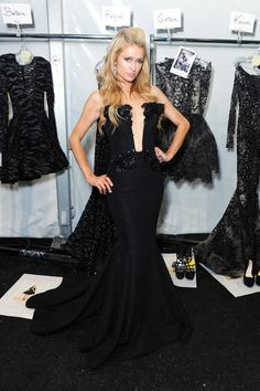 Pin for Later: Stunning Stars Amp Up the Excitement at New York Fashion Week Paris Hilton posed backstage at the Michael Costello show in NYC on Tuesday. Shows In Nyc, Michael Costello, Paris Hilton, Celebs, Celebrities, Business Women, Backstage, Celebrity Style, Fashion Show