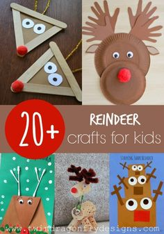 Reindeer Crafts for Kids - Here's a variety of different reindeer crafts and art projects for kids. These would be great for the month of December if you are celebrating Christmas. Perfect for Kindergarten, 1st, 2nd, and even 3rd grade.