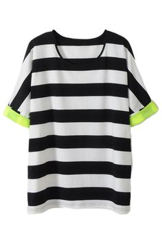 "#ROMWE ROMWE | ""White-Black Stripes"" T-shirt, The Latest Street Fashion"