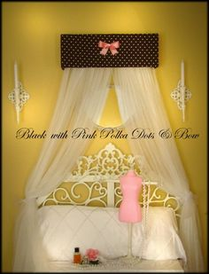 Crib Crown Nursery Princess Bed Canopy with mosquito netting Black Pink polka dot SALE Small Room Bedroom, Nursery Room, Girls Bedroom, Princess Canopy Bed, Custom Canopy, Devine Design, Above Bed, Simply Shabby Chic, Charlotte