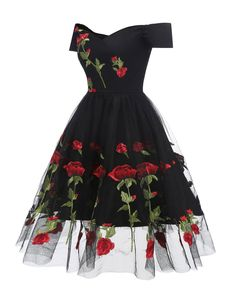 Women Floral Embroidered Mesh Dress Off The Shoulder Short Sleeves Vintage A-Line Ladies Party Dresses Vestidos Verano Black XL Black Party Dresses, A Line Prom Dresses, Homecoming Dresses, Short Sleeve Dresses, Short Sleeves, Lace Dresses, Dress Black, Casual Dresses, Floral Dresses