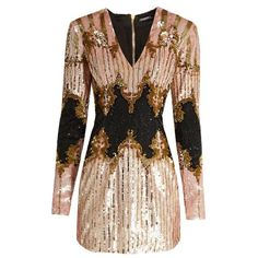 Balmain V-neck sequin-embellished dress ($2,372) ❤ liked on Polyvore featuring dresses, gowns, light pink short dress, long sleeve sequin gown, short sequin dress, mini dress and long sleeve evening gowns