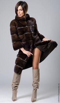 Верхняя одежда ручной работы. Шуба из коричневой норки SAGA. Sokolick Handmade. Интернет-магазин Ярмарка Мастеров. зима 2014