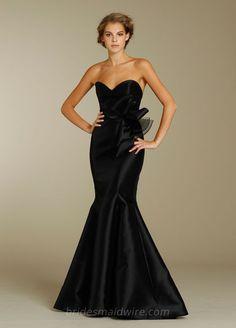 Black Satin Floor Length Trumpet Gown with Strapless Sweetheart Neckline  Designer Bridesmaid Dresses e84e560ff56c