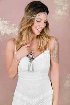 Helen & sienna bridal -Alice necklace- This beautiful bohemian silver tone necklace is the perfect choice for the free spirited and unique bride - Wedding jewelry