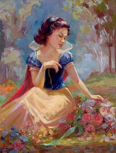 Lisa Keene Disney Art, Gathering Flowers, Disney Fine Art