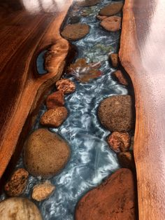 Walnut live edge river table with stone and leaves - woodworking - Epoxy Ideas Diy Resin Table, Epoxy Wood Table, Epoxy Resin Table, Resin And Wood Diy, Epoxy Table Top, Slab Table, Diy Epoxy, Table Bench, Wood Tables