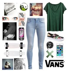 """""""Someone pm me pls"""" by hannah1315 ❤ liked on Polyvore featuring H&M, Andrea, Urbanears, 7 For All Mankind, Vans and FingerPrint Jewellry"""