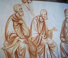 рисунок beginning of fresco in Sebastopol by Anton Daineko, to see more check… Byzantine Icons, Byzantine Art, Painting Studio, Mural Painting, Monochrome Painting, Russian Icons, Art Icon, Orthodox Icons, Drawing Skills