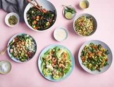 We're talking crunchy spicy slaw, a hearty protein-packed cobb, and herby chermoula with grilled seasonal veggies and kale (to name a few).