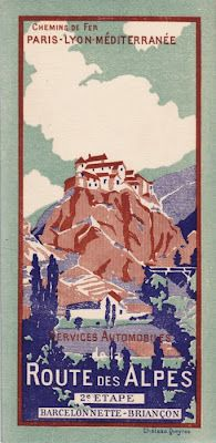 Vintage Travel Poster - Route des Alpes; Barcelonette - Briançon -Château-Queyras-. France. #