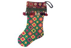 Hmong Wedding Quilt Christmas Stocking