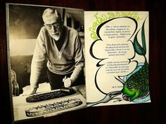 A book dedication with some talking thinker - fish by chckn