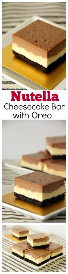 Nutella Cheesecake Bar with Oreo Base. To-die-for and the most AMAZING cheesecake bar ever!