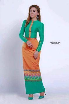 Myanmar Dress African Fashion Dresses, African Dress, Fashion Outfits, Myanmar Traditional Dress, Traditional Dresses, India Fashion, Ethnic Fashion, Oriental Dress, Gold Sequin Dress