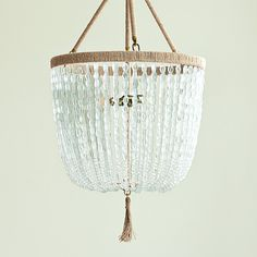 Serena&Lily: Seychelles Chandelier. Seaglass beads and hemp-wrapped steel frame with hemp tassel.