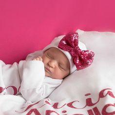 Raspberry bow white Newborn Girl hat.newborn baby hat.raspberry newborn hat.new…